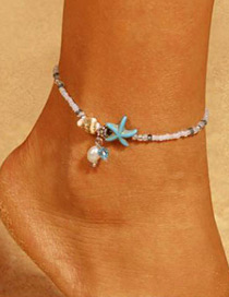 Elegant White+silver Color Starfish&seashell Decorated Anklte
