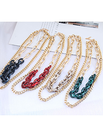 Fashion Green Acrylic Chain Alloy Double Necklace