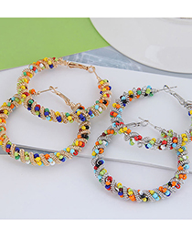 Fashion Gold Color Rice Beads Woven Geometric Alloy Earrings