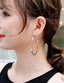 Fashion Gold Color 60*4mm Glossy Alloy Round Earrings