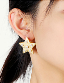Fashion Gold Color Five-pointed Star Pearl Alloy Earrings