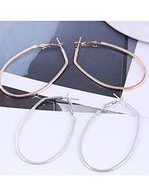 Fashion Rose Gold Color Geometric Oval Alloy Smooth Earrings
