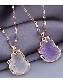 Fashion White Fox Jade And Diamond Alloy Necklace