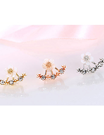 Fashion Silver Color Flower Resin Micro Inlaid Zircon Earrings