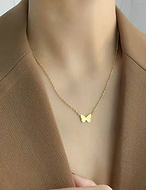 Fashion Gold Color Titanium Steel Butterfly Letter Necklace