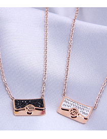 Fashion Black Diamond Letter Necklace In Titanium Steel With Diamonds