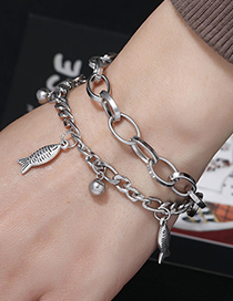 Fashion Silver Stainless Steel Fish Bell Bracelet