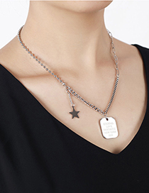 Fashion Silver Stainless Steel Shield Letter Five-pointed Star Necklace