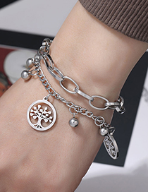 Fashion Silver Stainless Steel Tree Of Life Bracelet