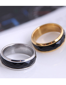 Fashion Silver Stainless Steel Inlaid Ring