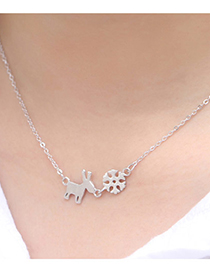 Fashion Silver White Gold-plated Copper Sheep Snowflake Necklace