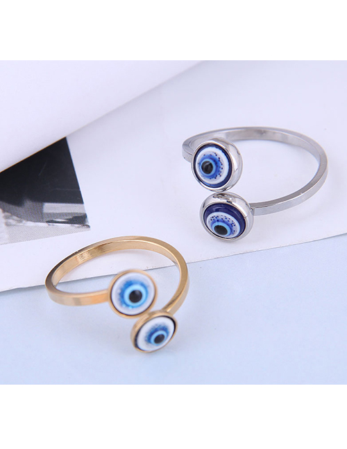 Fashion Silver Color Stainless Steel Eye Open Ring
