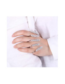 Fashion Silver Color Oval Shape Diamond Decorated Pure Color Ring