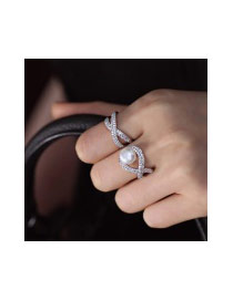 Fashion Silver Color Full Diamond&pearl Decorated Cross Shape Ring