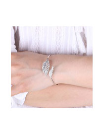 Elegant White Diamond Decorated Hollow Out Leaf Shape Pure Color Opening Bracelet