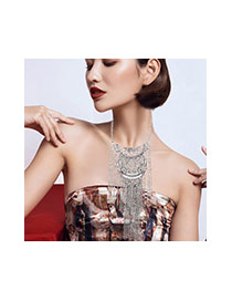 Exaggerate Silver Color Metal Tassel Decorated Pure Color Necklace