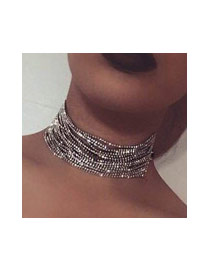 Brilliant Silver Color Round Diamond Decorated Simple Mutilayer Choker