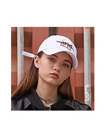 Fashion White Letter&short Strap Decorated Pure Color Baseball Cap