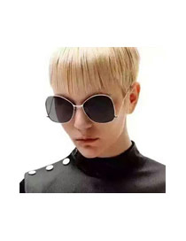 Fashion Black Metal Round Shape Decorated Simple Sunglasses