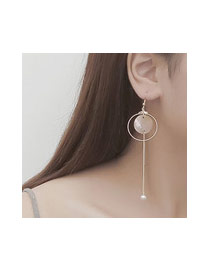 Elegant Gold Color+white Pearls&round Shape Decorated Tassel Design Simple Earrings