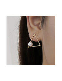 Sweet Silver Color Pearl Decorated Triangle Shape Earring