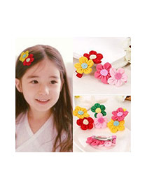 Fashion Yellow+red Flowers Decorated Color Matching Design Simple Hair Clip