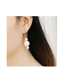 Fashion White Three Pearls Decorated Simple Bend Earrings
