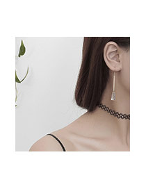 Fashion Silver Color Watershape Pendant Decorated Simple Long Chain Earrings