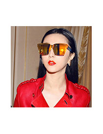 Fashion Silver Color Pure Color Decorated Square Shape Frames Simple Sunglasses