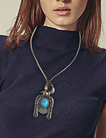 Fashion Blue Oval Shape Gemstone Decorated Hollow Out Simple Necklace
