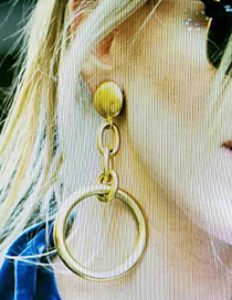 Fashion Gold Color Circular Ring Pendant Decorated Pure Color Earrings