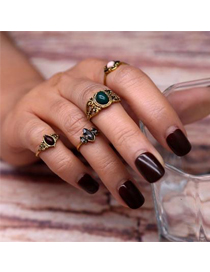 Fashion Gold Color Oval Shape Diamond Decorated Color Matching Ring (4pcs)