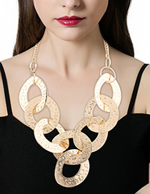 Fashion Gold Color Round Shape Decorated Pure Color Simple Jewelry Sets