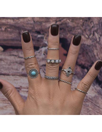 Fashion Silver Color Gemstone Decorated Color Matching Simple Ring (8pcs)