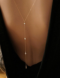 Fashion Silver Color Crystal Decorated Pure Color Simple Long Necklace