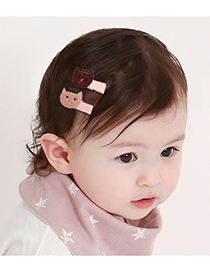 Fashion Pink Cat Shape Decorated Pure Color Simple Hair Clip