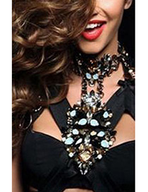 Fashion Black Long Tassel Decorated Multi-layer Necklace