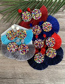 Fashion Beads Non-woven Rice Beads Round Tassel Earrings