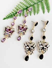 Fashion Purple Alloy Diamond Butterfly Stud Earrings