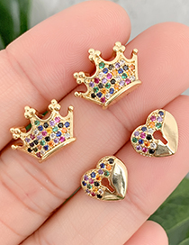 Fashion Gold Copper Inlaid Zircon Crown Stud Earrings
