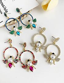 Fashion Blue Alloy Diamond-studded Bee Pearl Earrings