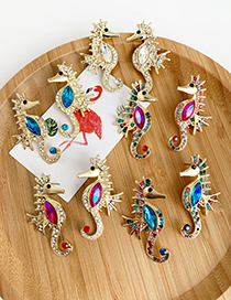 Fashion Rose Red Color Alloy Studded Hippocampus