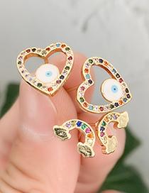 Fashion Gold Copper Inlay Zircon Love Eye Studs