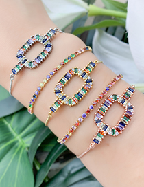 Fashion Silver Copper Inlay Zircon Geometric Bracelet