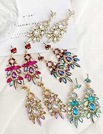 Fashion Pink Alloy Studded Geometric Earrings