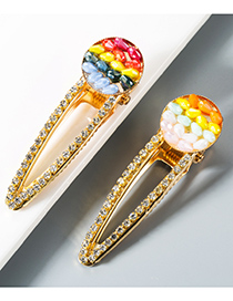 Fashion Light Color Rice Beads And Diamonds Hollowed Out Hair Clips