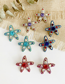 Fashion Red Alloy Studded Starfish Earrings