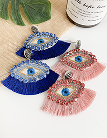 Fashion Pink Resin Rhinestone Embroidery Eye Tassel Earrings