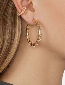 Fashion Pink Alloy Gemstone Diamond Pearl C-shaped Ear Clip Single