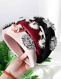 Fashion Red Wine Gold Velvet And Diamond Pearl Love Headband